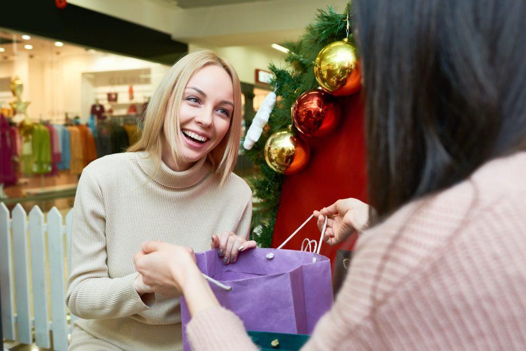 Happy shopper in the mall