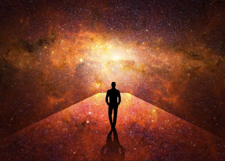 Man walking through the universe