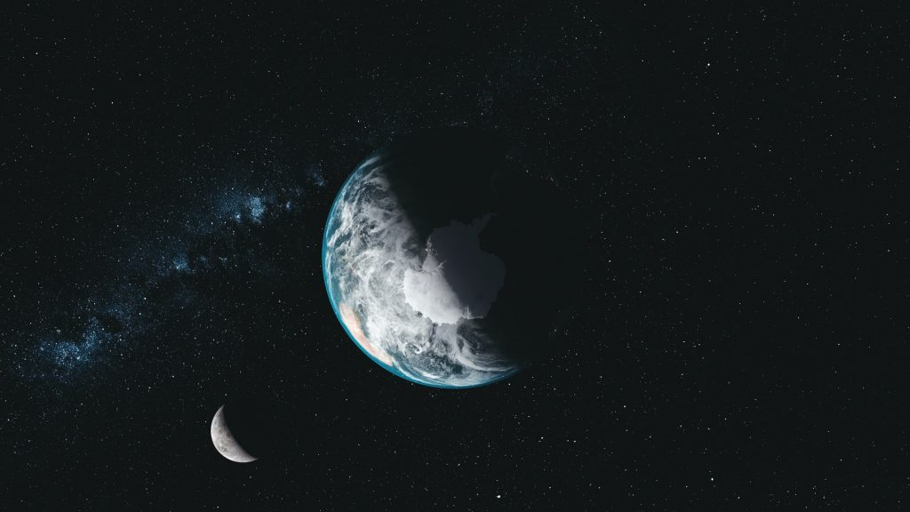 Spin earth moon orbit milky way satellite view
